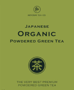 Miyoshi Tea organic powdered green tea label