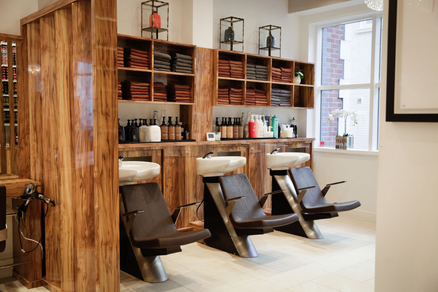 Backwash area of Hiro Miyoshi hair salon in Mayfair