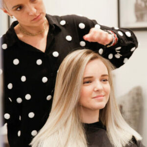 Hairdresser Madalina working with a client at Hiro Miyoshi Hair and Beauty