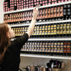 Yoko working at the colour bar at Hiro Miyoshi Mayfair