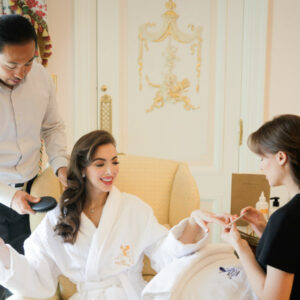 A client receiving a five-star treatment by team Hiro Miyoshi at The Ritz